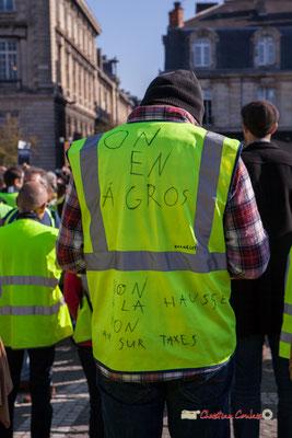 """""""On en a gros. Non à la hausse. Non aux sur taxes"""" Manifestation nationale des gilets jaunes. Place de la Victoire, Bordeaux. Samedi 17 novembre 2018"""