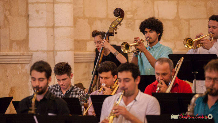 Laure Sanchez,  Loïc Guénnéguez, Louis Gachet; Big Band Jazz du conservatoire de Bordeaux Jacques Thibaud. Festival JAZZ360 2018, Cénac. 09/06/2018