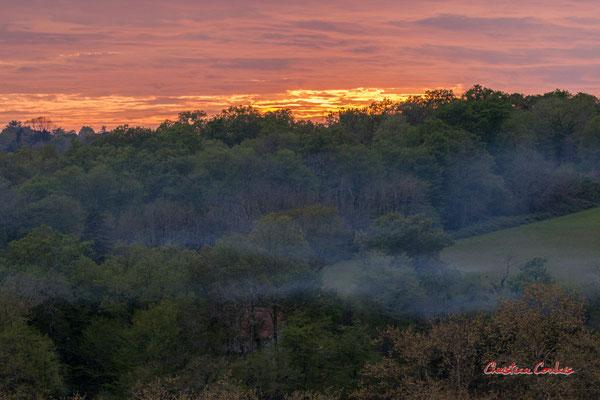 2/8 Feu de broussaille à Citon. Coucher de soleil depuis Haut-Brignon, Cénac. Mardi 7 avril 2020. Photographie : Christian Coulais