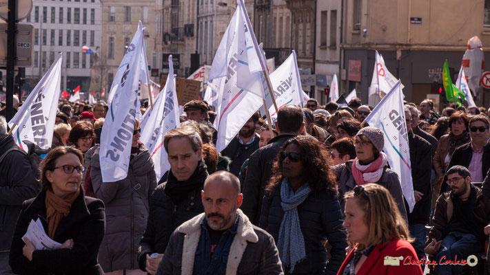 15h05 Génération.s Le mouvement. Manifestation intersyndicale de la Fonction publique/cheminots/retraités/étudiants, place Gambetta, Bordeaux. 22/03/2018