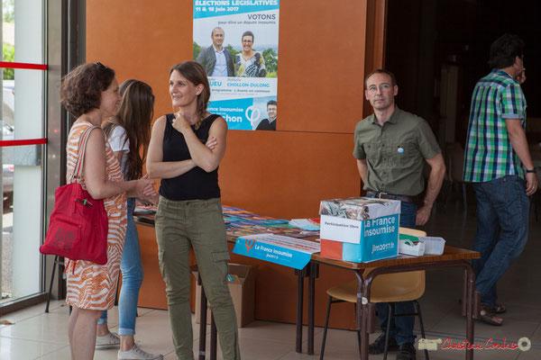 Anne et Yann Vanherzeele, mandataire financier de Christophe Miqueu. Concert de soutien des Insoumis de la 12ème circonscription de la Gironde. 28/05/2017, Targon