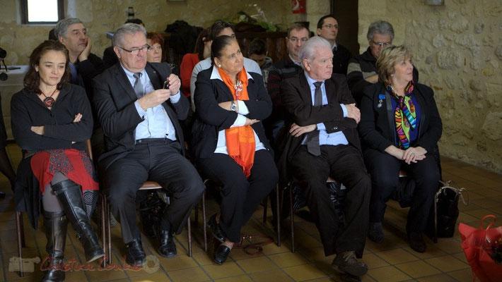 Mathilde Feld, Jean-Marie Darmian, Martine Faure, Philippe Madrelle, Françoise Cartron écoutent le discours de Suzette Grel