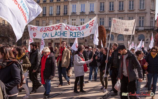 15h22 Haute-Gironde insoumise. Manifestation intersyndicale de la Fonction publique/cheminots/retraités/étudiants, place de la Comédie, Bordeaux. 22/03/2018