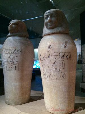 Vases canopes de Ty, destinés à conserver les viscères du défunt. Probablement Saqqara (Sérapéum ?). Nouvel empire; XIXème dynastie; règne de Ramsès II (1279 -1213 av. J.-C.) Musée du Louvre