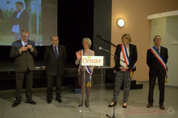 Allocution de Simone Ferrer, en présence de Jean-Marie Darmian, Jean-Michel Bédécarrax, Catherine Veyssy, Gérard Pointet; Honorariat des anciens Maires de Cénac, vendredi 3 avril 2015
