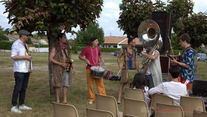 Elephant Brass Machine : Régis Lahontâa, Mathis Polack, Jean-Michel Achiary, Ludovic Lesage, Damien Bachère, Thomas Boudé. Festival JAZZ360 2015, Cénac, 12/06/2016