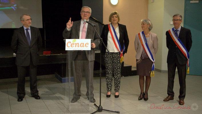 Jean-Marie Darmian, ancien maire de Créon, Vice-président du Conseil départemental de la Gironde. Honorariat de Simone Ferrer et Gérard Pointet, vendredi 3 avril 2015, Cénac