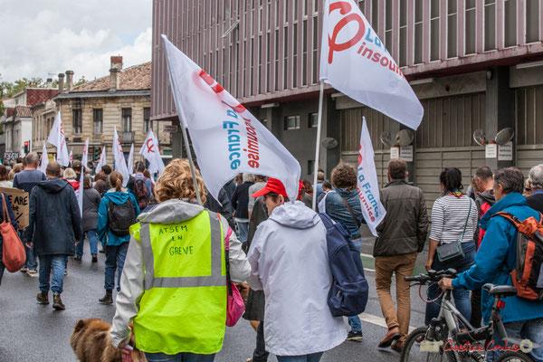 """La France Insoumise """"ATSEM en grève"""" (agent territorial spécialisé des écoles maternelle). Manifestation contre la réforme du code du travail. Cours du Maréchal Juin, Bordeaux, 12/09/2017"""