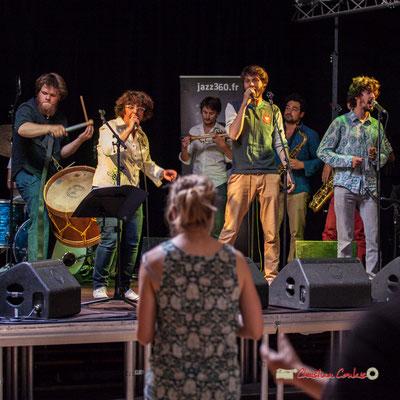 Louis Lubat, Rita Macedo, Paolo Chatet, Tanguy Bernard, Mathis Polack, Jaime Chao; le Parti Collectif. Festival JAZZ360 2019, Latresne, 09/06/2019