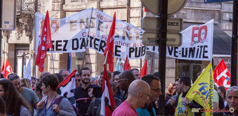 F.O. Enseignement. Manifestation intersyndicale de la Fonction publique, place Gambetta, Bordeaux. 10/10/2017