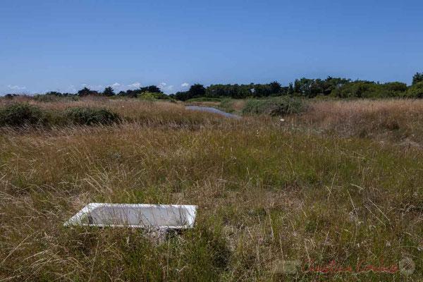 Baignoire, pour abreuver les chevaux. Marais salants de l'Île de Noirmoutier entre l'Epine et Noimoutier en l'Île, Vendée, Pays de la Loire