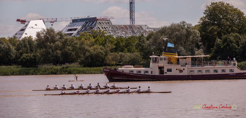 Course d'aviron suivie par le Marco Polo. Bordeaux fête le fleuve. 22/06/2019 Reproduction interdite - Tous droits réservés © Christian Coulais