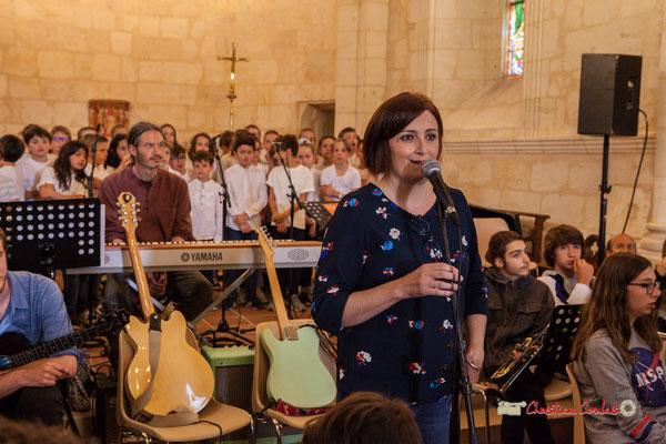 Odile Loaec et sa Chorale des CM1 / CM2 de Quinsac. Festival JAZZ360 2019, vendredi 7 juin 2019.