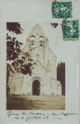L'église Saint-André 1908. Cénac d'antan. Collection Jean-Pierre Couthouis