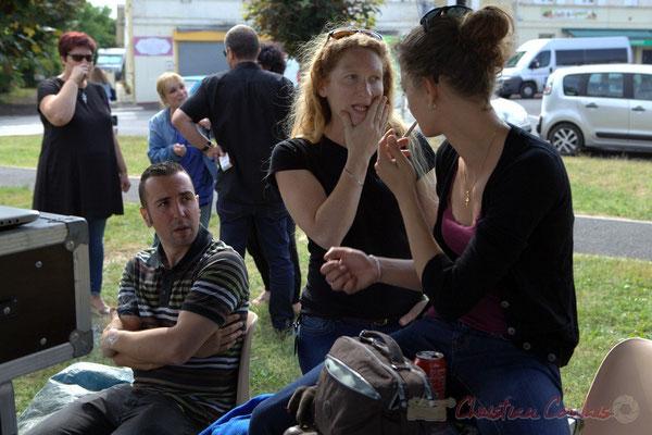 Alexandre Andujar, technicien son, Lesle Seuve, technicienne lumières, Charlotte Léric, technicienne son