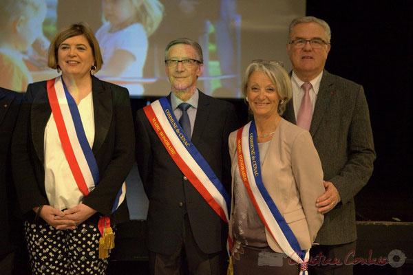 Catherine Veyssy, Maire de Cénac; Gérard Pointet, Simone Ferrer, Maires honoraires; Jean-Marie Darmian, Conseiller départemental; vendredi 3 avril 2015