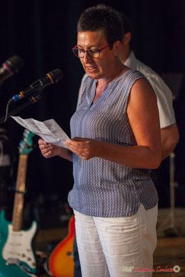 Nathalie Chollon-Dulong, suppléante aux élections législatives La France insoumise. Concert de soutien de la 12ème circonscription de la Gironde. 28/05/2017, Targon