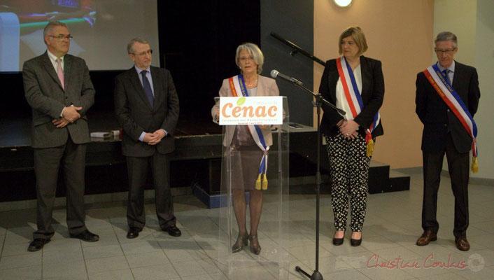 Jean-Marie Darmian, Jean-Michle Bédécarrax, Simone Ferrer, Catherine Veyssy, Gérard Pointet; Honorariat des anciens Maires de Cénac, vendredi 3 avril 2015