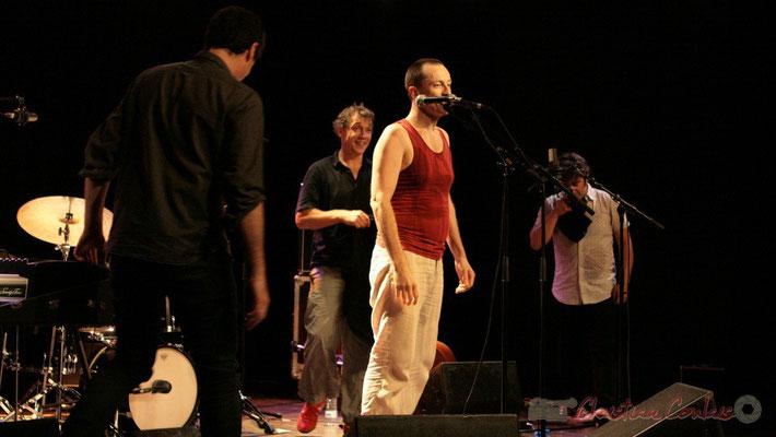 """Franck Woeste, Philippe Gleizes, Médéric Collignon, Frédéric Chaffoleau; Médéric Collignon """"Jus de Bocse"""". Festival JAZZ360 2011, Cénac. 04/06/2011"""