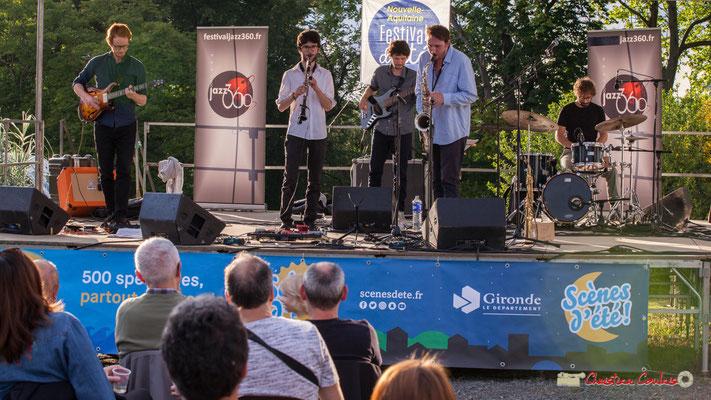 Théo Duboule, Clément Meunier, Gaspard Colin, Louis Billette, Marton Kiss; Oggy & The Phonics. Festival JAZZ360 2018, Langoiran. 07/06/2018