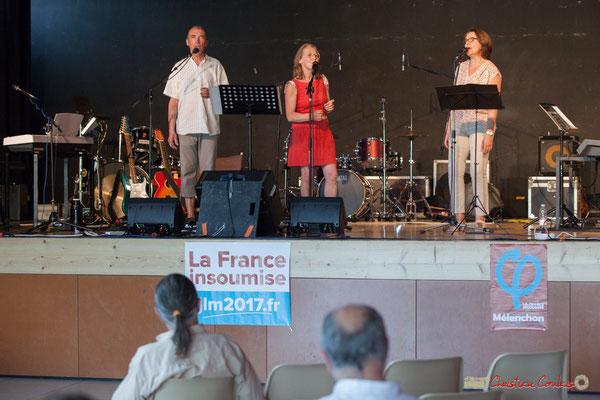 Olivier Verger, Isabelle Verger, Véronique Bermejo. Ensemble vocal Semailles. Concert de soutien des Insoumis de la 12ème circonscription de la Gironde. 28/05/2017, Targon