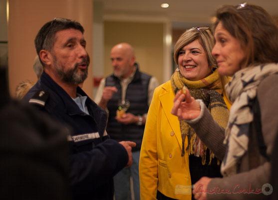 Le commandant de la Gendarmerie de Latresne; Catherine Veyssy, Maire de Cénac; Marie Huguenin, correspondante du Journal Sud-Ouest