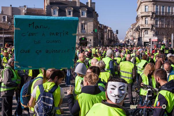 """""""Manu, c'est à partir de quant que ça ruisselle ?"""" Manifestation nationale des gilets jaunes. Place de la Victoire, Bordeaux. Samedi 17 novembre 2018"""