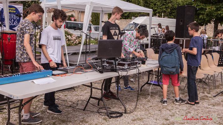 Atelier Electro Jazz de Franck Martin, avec Thomas, Lucas, Pierre-Léo, association AMAC. Festival JAZZ2018, Cénac. 08/06/2018