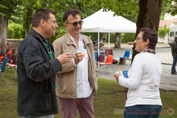 Patrick Pérez, élu de Quinsac; Lionel Faye, Maire de Quinsac; Marie-Ange Rey, élue à Camblanes-et-Meynac. Festival JAZZ360 2016, 11/06/2016