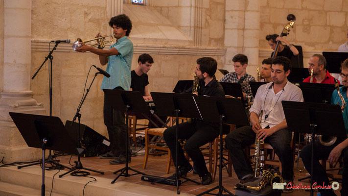 Loïc Guénnéguez, Robin Magord, Alexandre Aguilera, Mathis Polack; Big Band Jazz du conservatoire de Bordeaux Jacques Thibaud. Festival JAZZ360 2018, Cénac. 09/06/2018