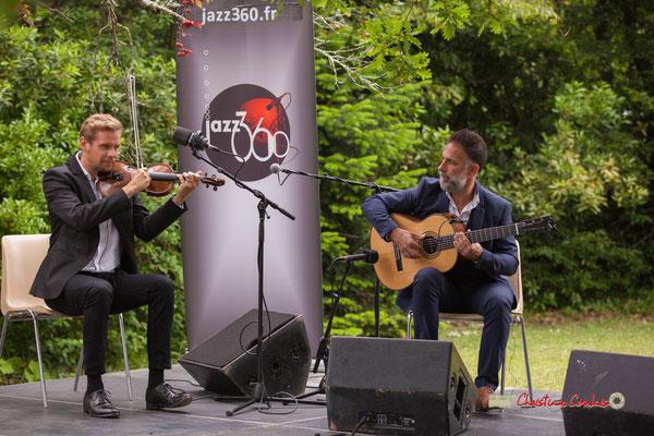 Nicolas Frossard, Nicolas Saez; Nicolas Saez Quartet. Festival JAZZ360, Château Duplessy, Cénac. 10/06/2019