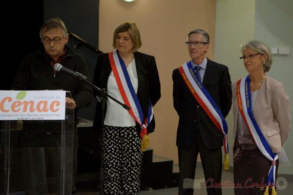 Allocution de Richard Raducanu, en présence de Catherine Veyssy, Gérard Pointet, Simone Ferrer. Honorariat des anciens Maires de Cénac, vendredi 3 avril 2015