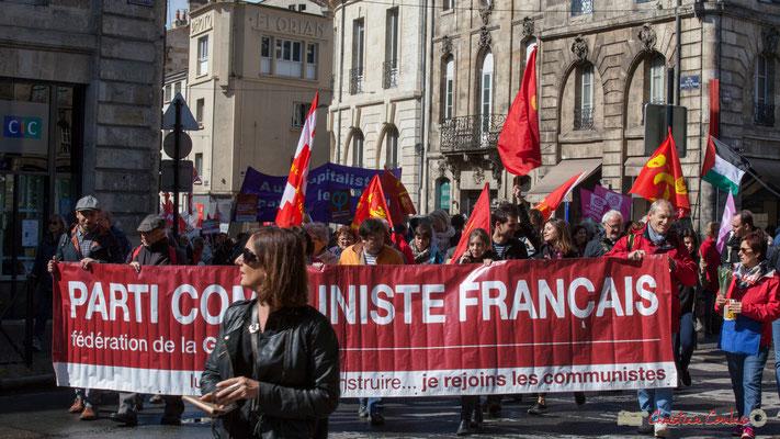 Parti communiste français, fédération de la Gironde. Manifestation du 1er mai 2017, avec la France Insoumise, place Gambetta, Bordeaux