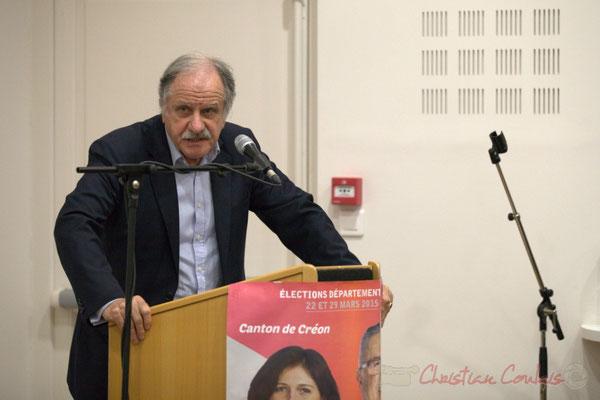 """Noël Mamère. Meeting républicain des candidats """"Majorité départementale"""" aux élections départementales du canton de Créon, 19 mars 2015"""