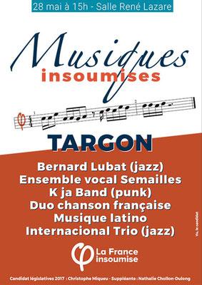 Musiques insoumises, 28 mai 2017, Targon. Affiche avec les groupes initialement prévus. Graphiste : Pascal Durand