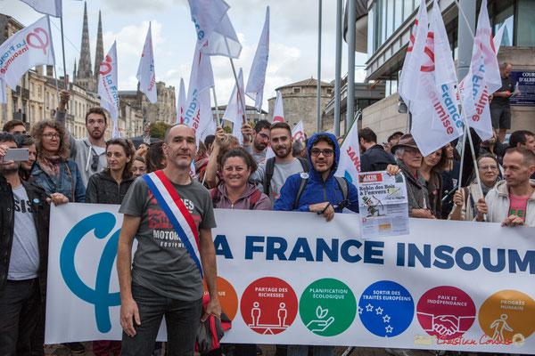 Loïc Prud'Homme, Député de Gironde et la France Insoumise. Manifestation contre la réforme du code du travail. Bordeaux, 12/09/2017