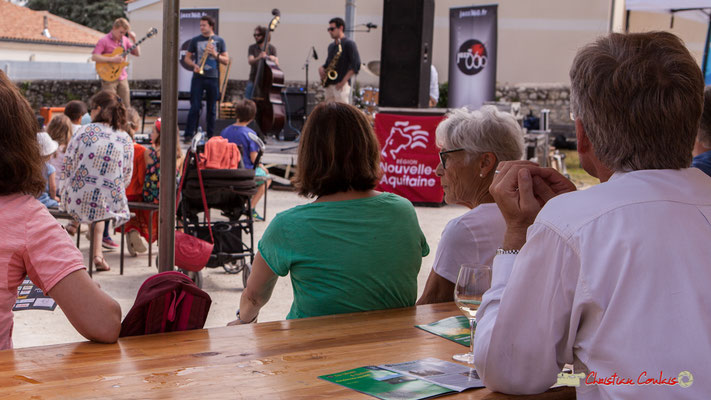 L'esprit JAZZ360, musique & verre de vin blanc (avec modération). Premier atelier jazz du conservatoire Jacques Thibaud. Festival JAZZ360, Quinsac. 10/06/2018