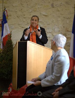 Discours de Martine Faure, Députée de Gironde sous le regard de Suzette Grel. 7 févier 2015, Le Pout