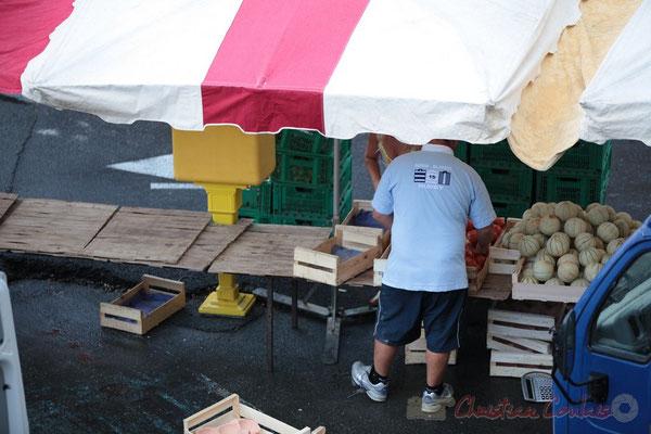 Installation de fuits et légumes de producteur du Lot-et-Garonne, Marché de Créon, Gironde