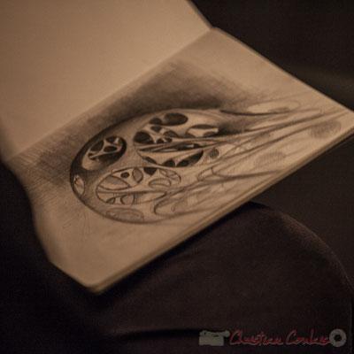 Eric Lefeuvre, architecte, peaufine son premier dessin. Le Rocher de Palmer, 12/12/2015. Reproduction interdite - Tous droits réservés © Christian Coulais