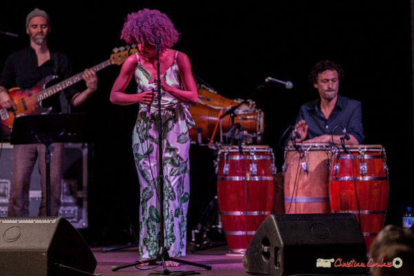 Thomas Labadens, Mayomi Moreno, Lionel Galletti; Mayomi Moreno Project. Festival JAZZ360 2018, Latresne. 10/06/2018