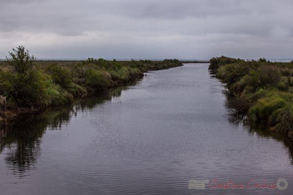 Le canal des étangs, qui relie le lac de Carcans-Hourtin, l'étang de Lacanau, au bassin d'Arcachon, croise le sentier de la Réserve naturelle des Prés salés
