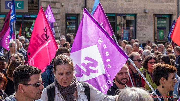 Sud Santé et Social. Manifestation contre la réforme du code du travail. Place Gambetta, Bordeaux, 12/09/2017
