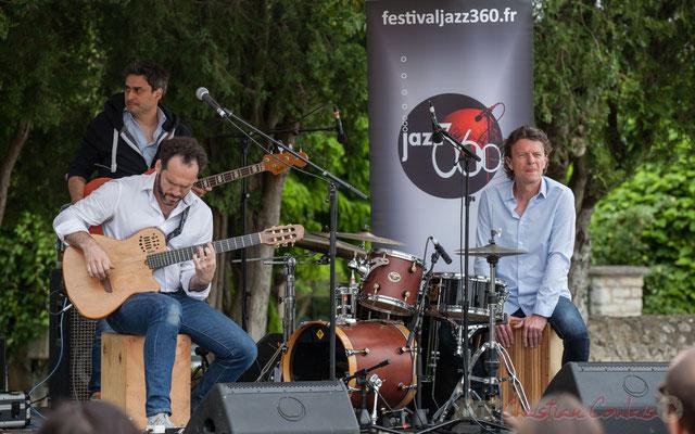 Jean Lassallette, Nicolas Mirande, Christophe Léon Schelstraete, Taldea Group. Festival JAZZ360 2016, Quinsac, 12/06/2016