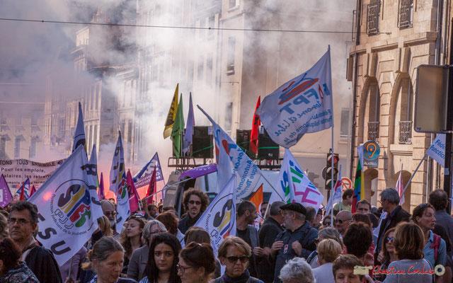 Protection judiciaire de la Jeunesse dans la rue. Manifestation intersyndicale de la Fonction publique, place Gambetta, Bordeaux. 10/10/2017