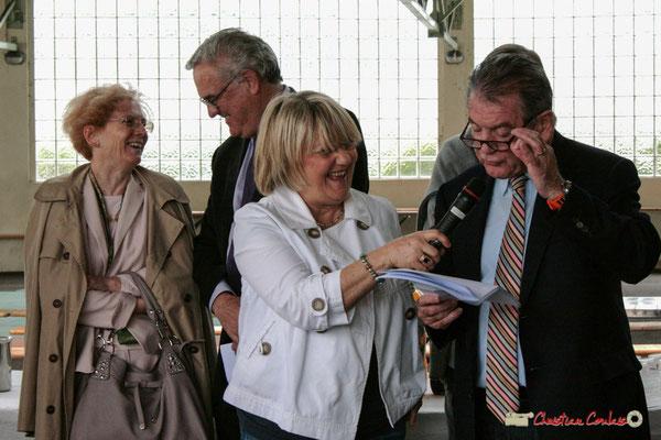 Marie-Claude et Jean-Marie Darmian, Martine Jardiné, Philippe Madrelle. Vin d'Honneur opération arbres de la laïcité, Créon. 19/06/2010