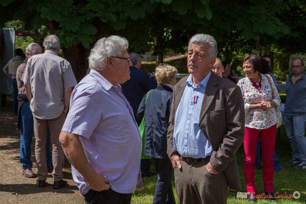 (G) Christian Bouzat, Président de l'Association R.E.V. Tous avec Martine...Faure et Jean-Marie Darmian pour fêter 10 ans de députation et un jubilé d'engagements politiques. 14 mai 2017, Blasimon