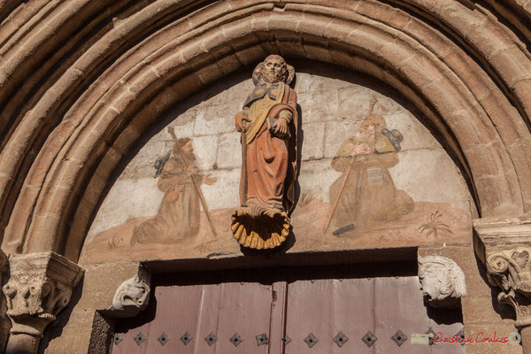 Saint-Jacques, statue polychrome. Iglesia de Santiago, 25, Calle Santigo, Sangüesa, Navarra