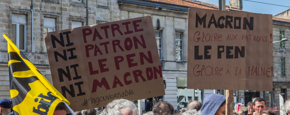 """""""Ni patrie, ni patron, ni Le Pen, ni Macron"""" Manifestation du 1er mai 2017, avec la France Insoumise, cours d'Albret, Bordeaux"""