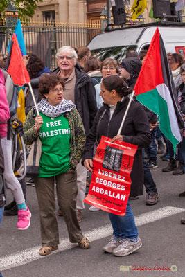 """10h40 """"Free Palestine"""" """"Libérez Georges Ibrahim Abdallah"""" Communiste révolutionnaire arabe, militant de la cause palestinienne, détenu depuis son arrestation, le 24 octobre 1984, en France. Cours d'Albret, Bordeaux. 01/05/2018"""